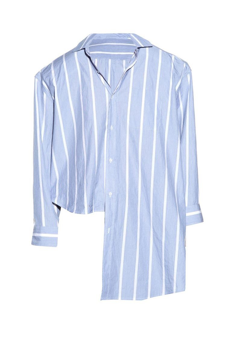 Blue with White Stripes Asymmetrical Blouse