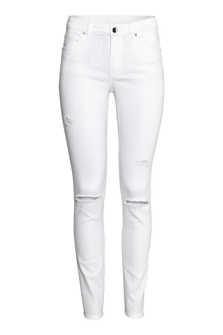 Skinny Regular Jeans - White denim - Ladies | H&M