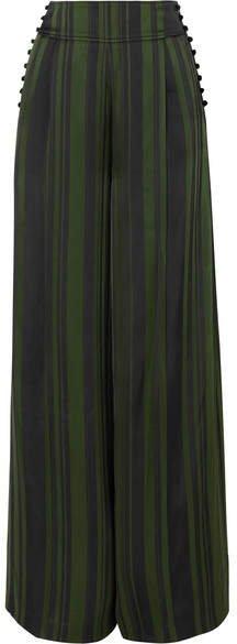 ADEAM - Striped Satin Wide-leg Pants - Emerald