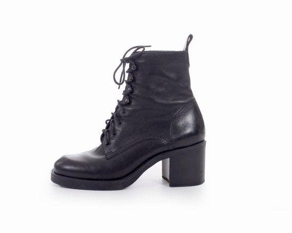 5d3b2874b 90s Vintage Black Leather Lace up Ankle Boots Chunky Platform | ShopLook