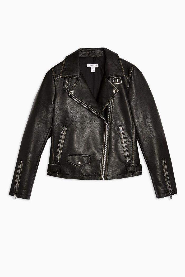Washed PU Biker Jacket | Topshop black