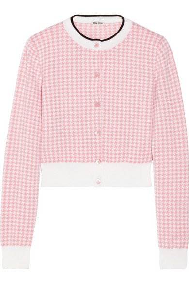 Miu Miu | cropped houndstooth wool cardigan
