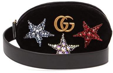 Gg Marmont Embellished Velvet Belt Bag - Womens - Black Multi
