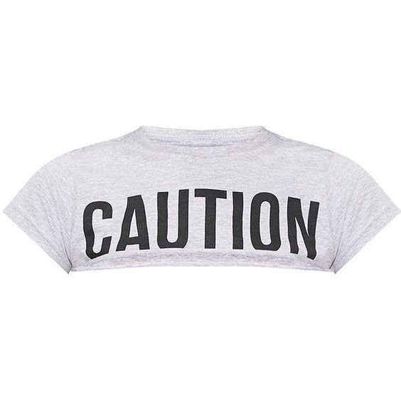 Yellow CAUTION Slogan Extreme Crop T Shirt