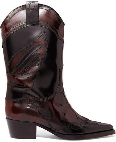 Marlyn Embroidered Patent-leather Boots - Black