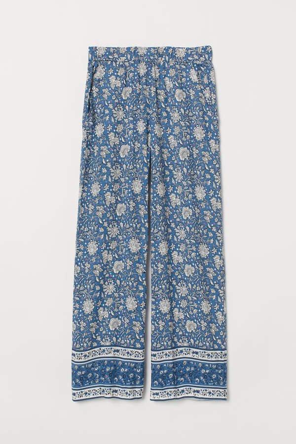 Wide-cut Pull-on Pants - Blue