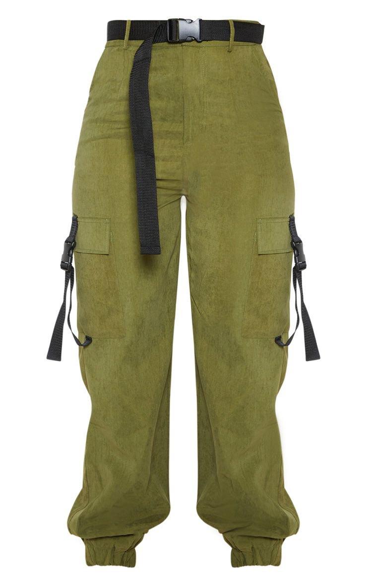 Khaki Buckle Detail Belted Cargo Trouser | PrettyLittleThing