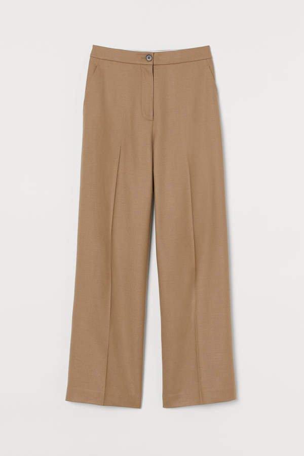 Wide-cut Wool Pants - Beige
