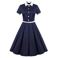 60s Pure Color Vintage Dress