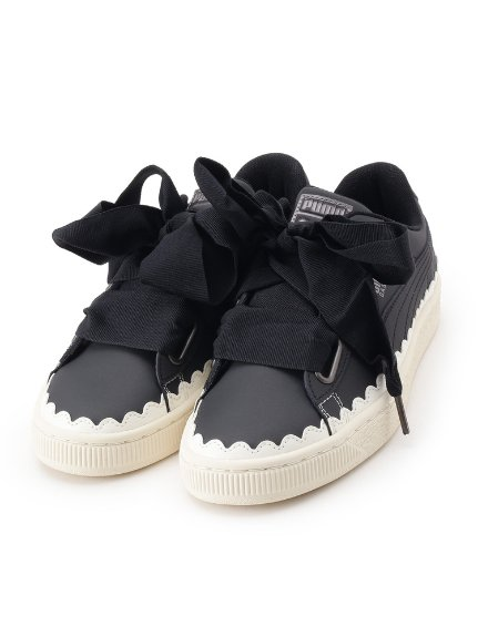 【WEB limited sale】 PUMA BASKET HEART SCALLOP sneakers (shoes / sneakers)   Couture Brooch (couture brooch) mail order   fashion walker