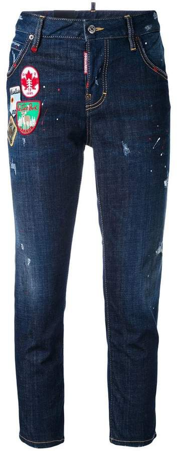 Cool Girl patch cropped jeans