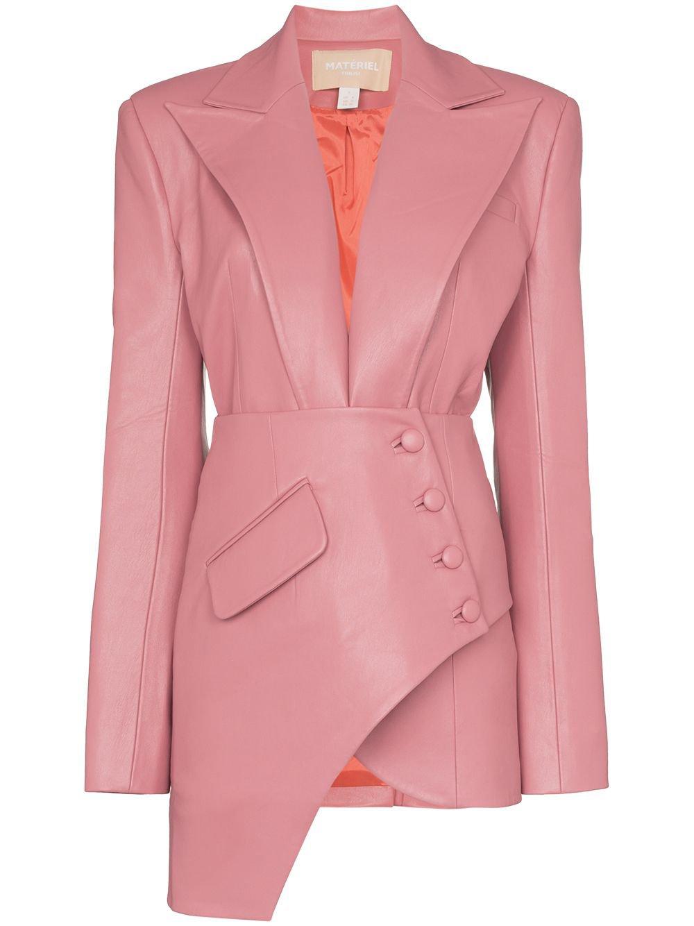 Pink Matériel Asymmetric Faux Leather Blazer | Farfetch.com