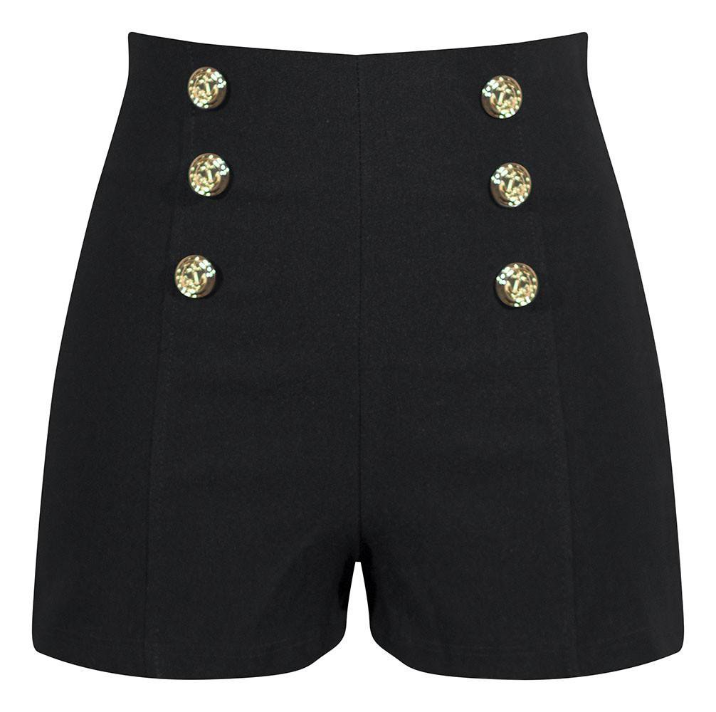 High Waisted Shorts with Anchor Buttons in Black - Sailor Girl Stretchy Show – Double Trouble Apparel
