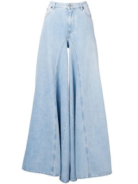 Mm6 Maison Margiela bleach denim wide leg jeans $362 - Shop SS19 Online - Fast Delivery, Price