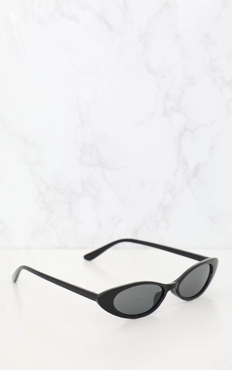 Black Matte Thin Retro Sunglasses | PrettyLittleThing USA