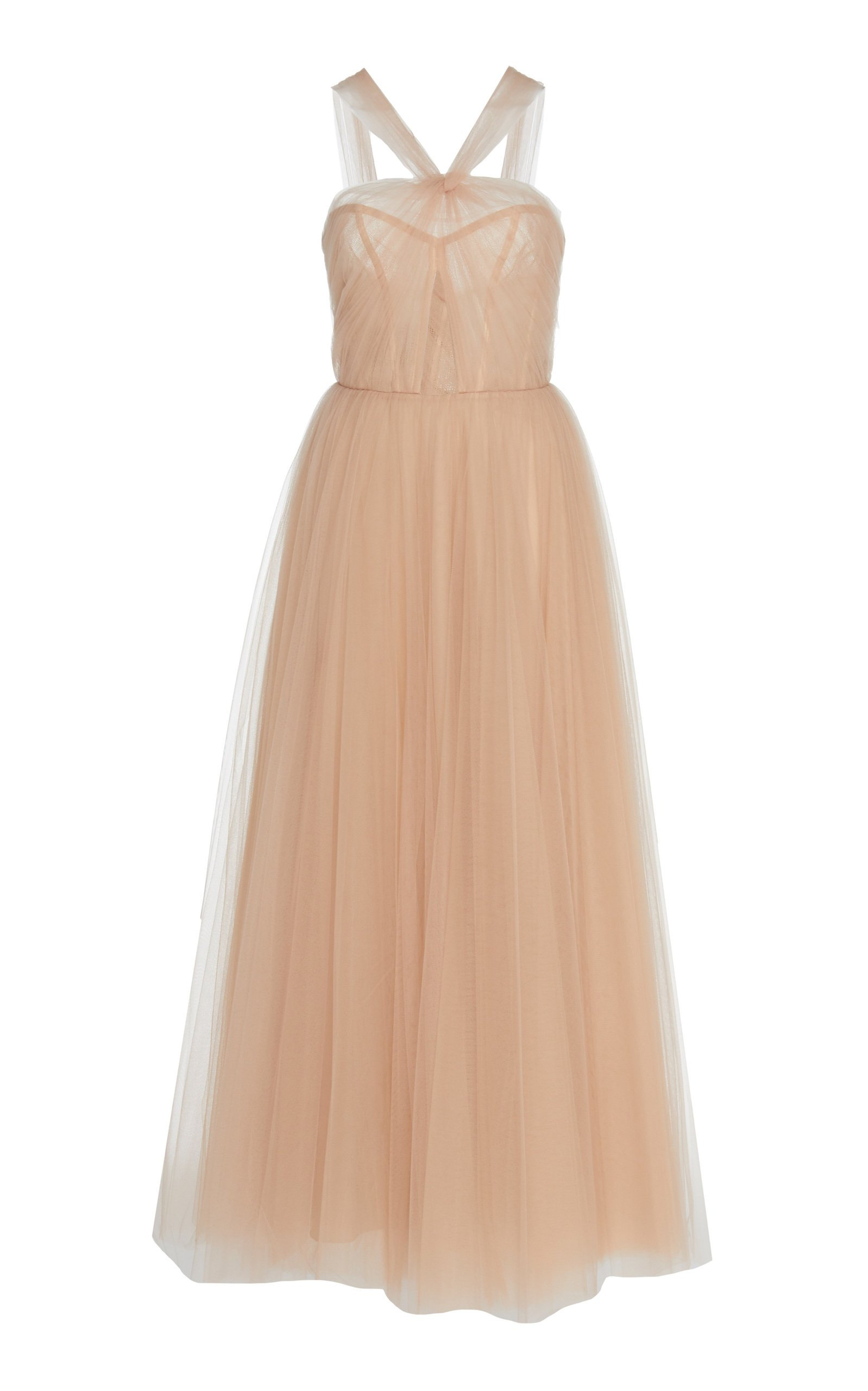 Monique Lhuillier Halter Fit-And-Flare Tulle Gown