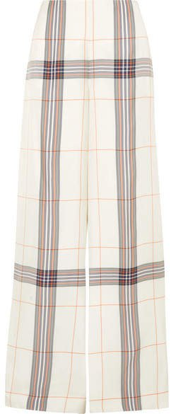 Tayport Checked Woven Wide-leg Pants - Ivory