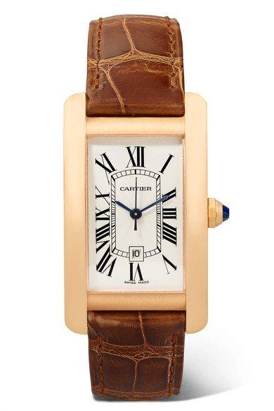 Cartier | Tank Américaine 22.6mm medium 18-karat pink gold and alligator watch | NET-A-PORTER.COM