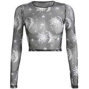 black sheer long sleeve shirt moon print
