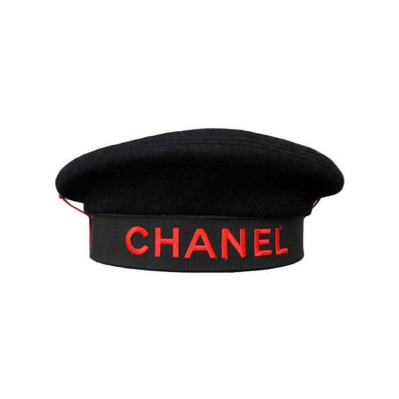 Chanel Vintage | beret with stitched red typography