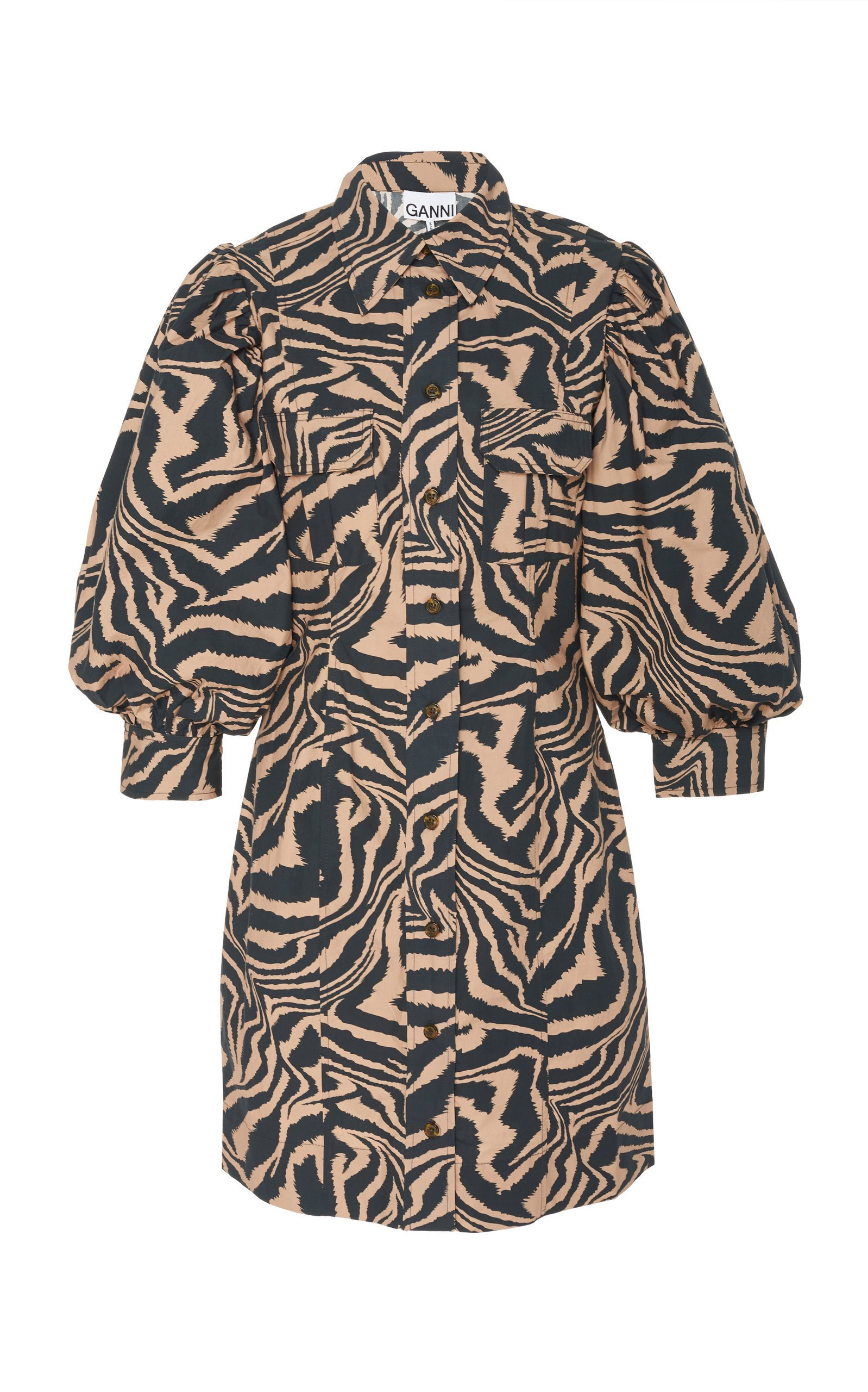 Ganni Leopard Dolman-Sleeve Poplin Mini Dress