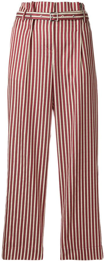 high-waisted striped trousers