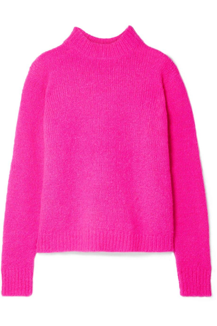 Tibi | Cozette neon alpaca-blend sweater | NET-A-PORTER.COM