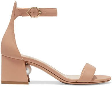 Miri Faux Pearl-embellished Leather Sandals - Neutral