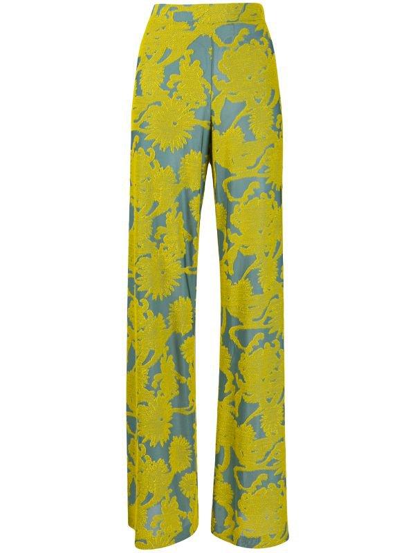 Jil Sander Wide Leg Floral Print Trousers | Farfetch.com