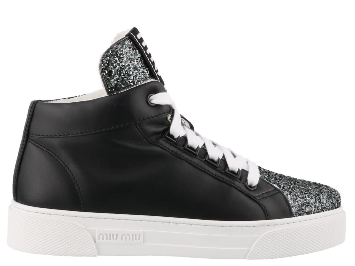 Miu Miu Hi-top Sneakers With Glitter