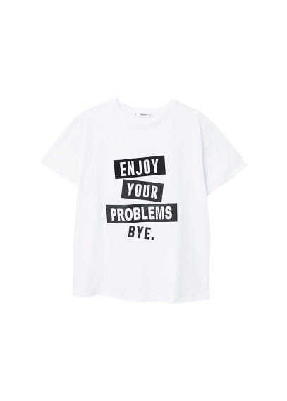 MANGO Printed text t-shirt