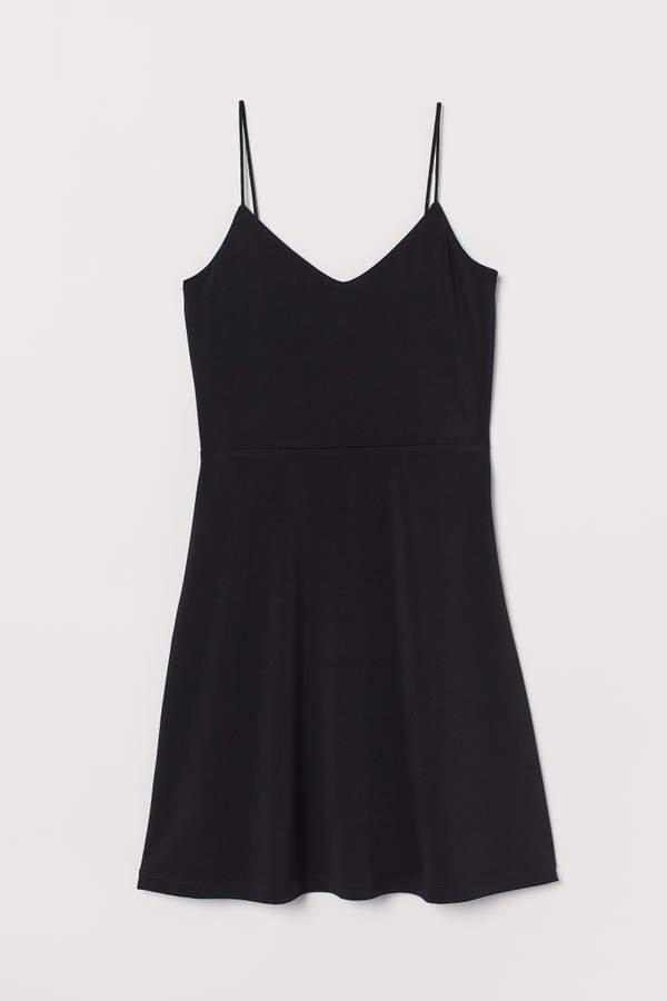 Flared Jersey Dress - Black