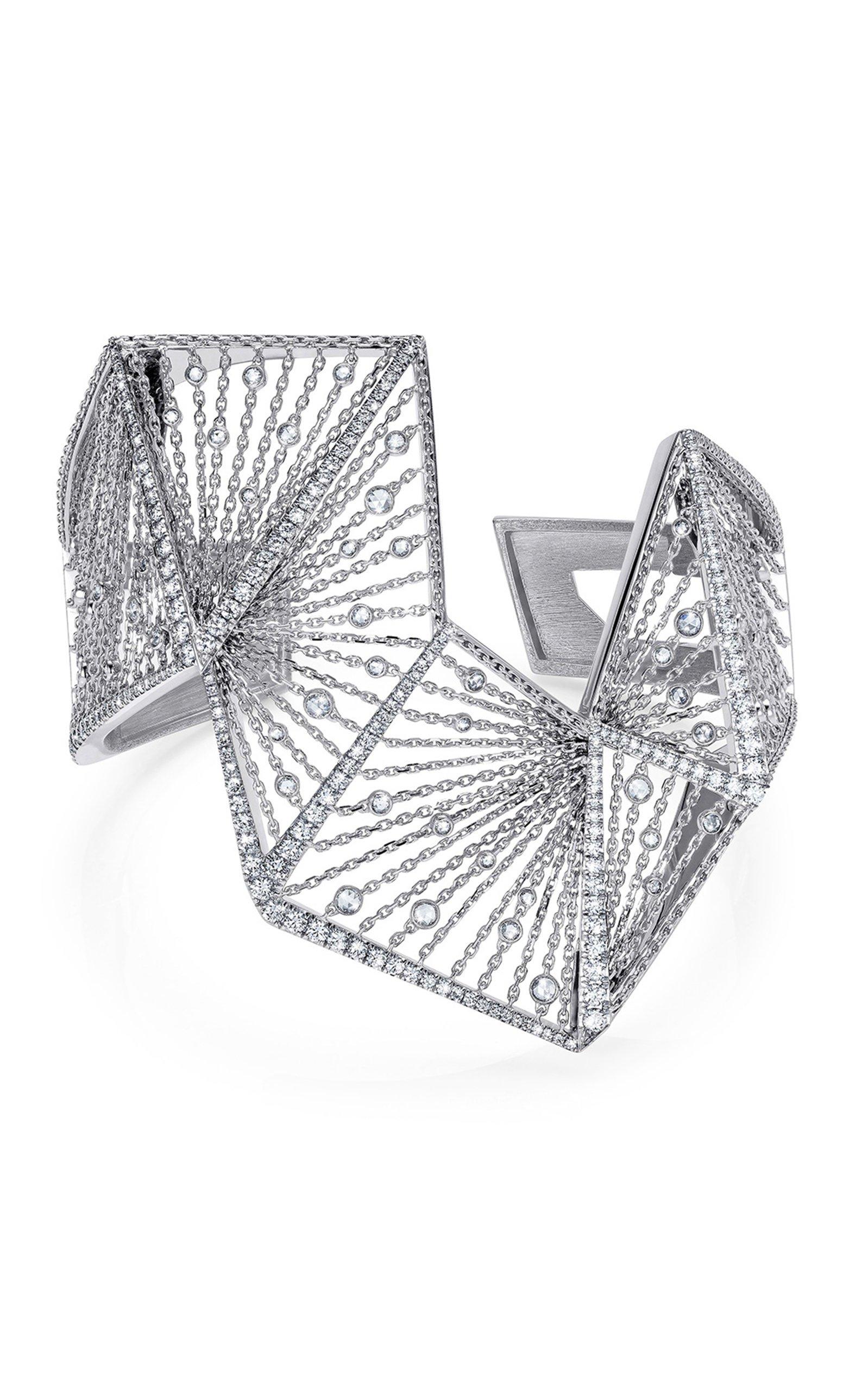 White Gold and White Diamond Angular Bracelet by Mike Joseph | Moda Operandi