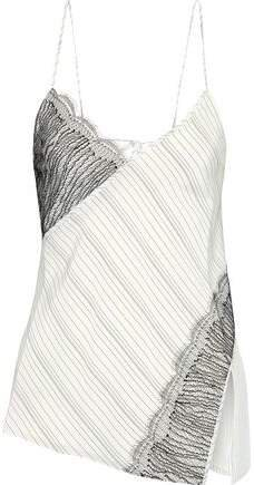 Lace-paneled Pinstriped Silk Crepe De Chine Camisole