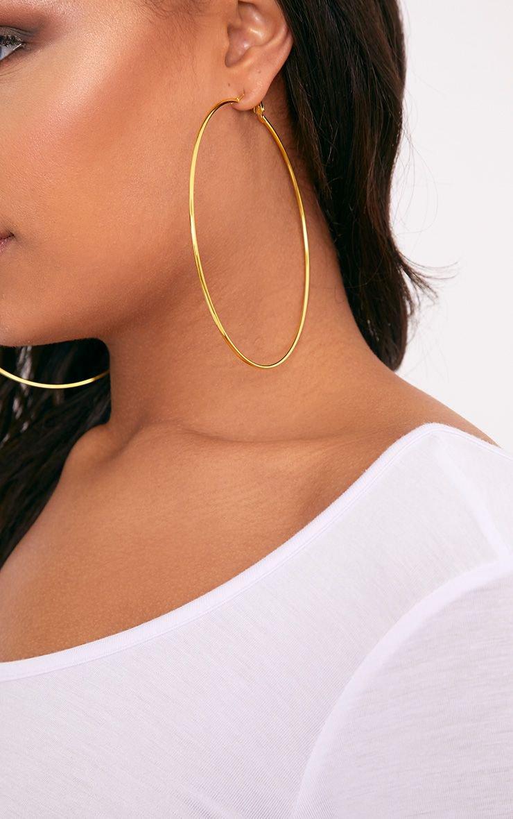 Gold Large Hoop Earrings   PrettyLittleThing