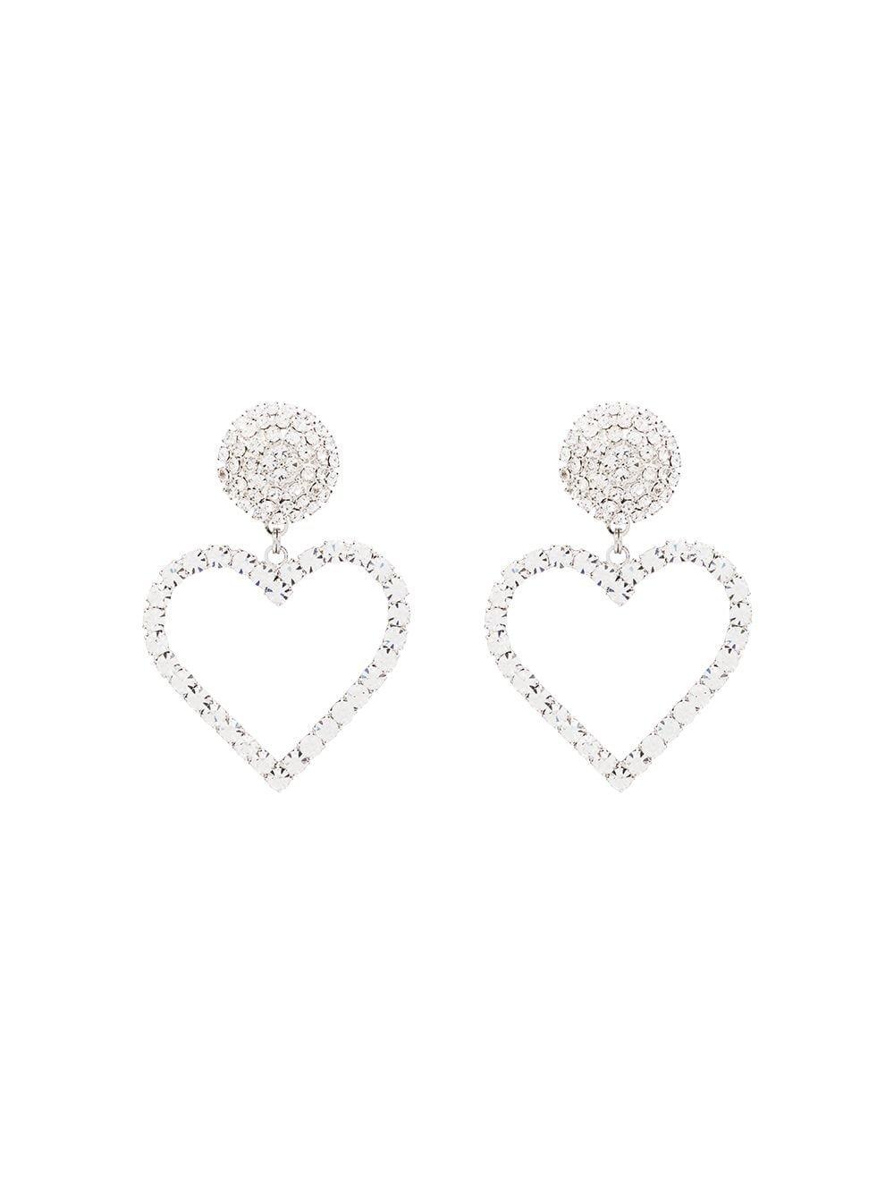 Alessandra Rich Crystal Heart Drop Earrings | Farfetch.com