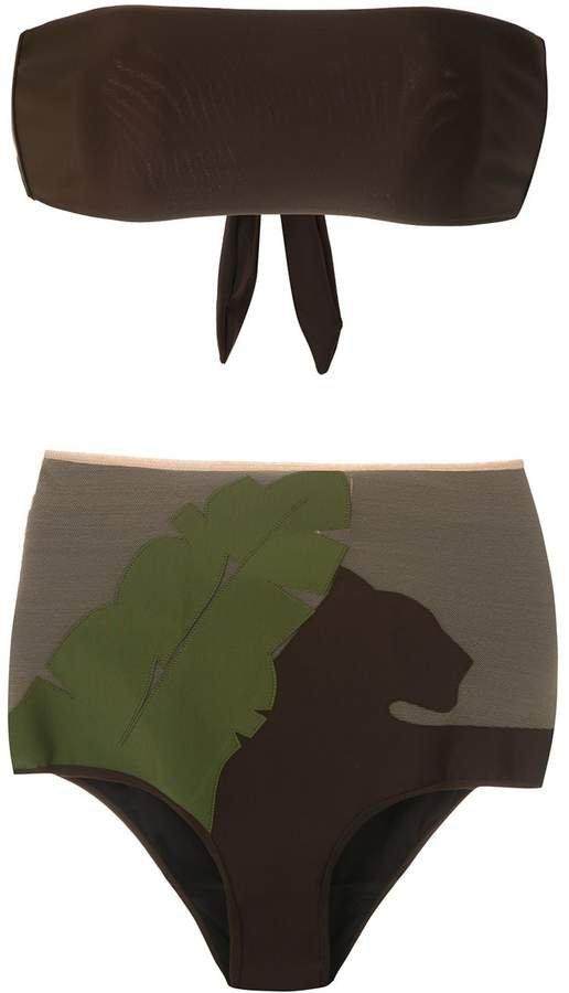 appliqué hot pantes bikini set