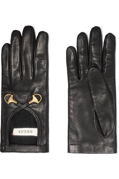 Gucci   Horsebit-detailed leather gloves   NET-A-PORTER.COM