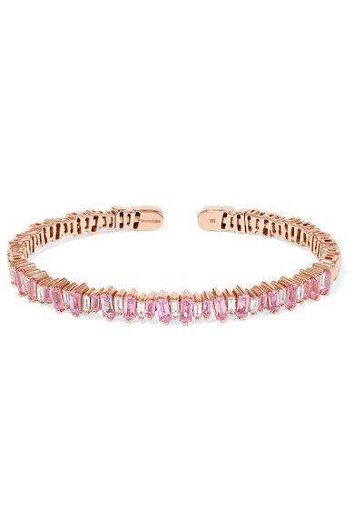 Suzanne Kalan | 18-karat rose gold, sapphire and diamond cuff | NET-A-PORTER.COM