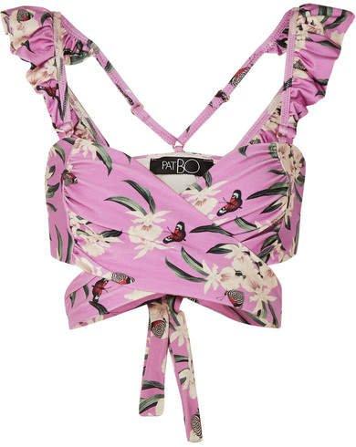 Printed Ruffled Bikini Top - Violet