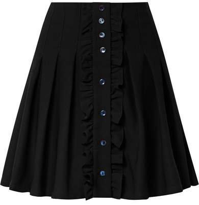 Victoria Ruffled Pleated Crepe Mini Skirt - Black