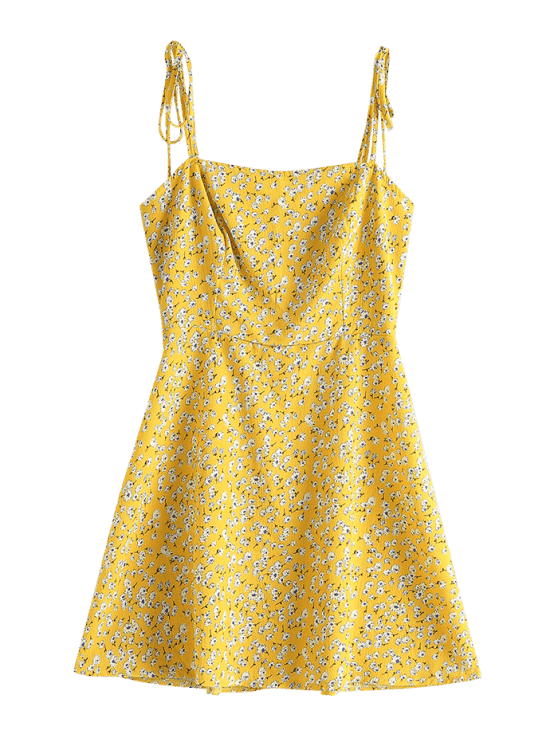 [35% OFF] [POPULAR] 2019 ZAFUL Floral Tie Strap Apron Mini Sundress In BEE YELLOW S   ZAFUL