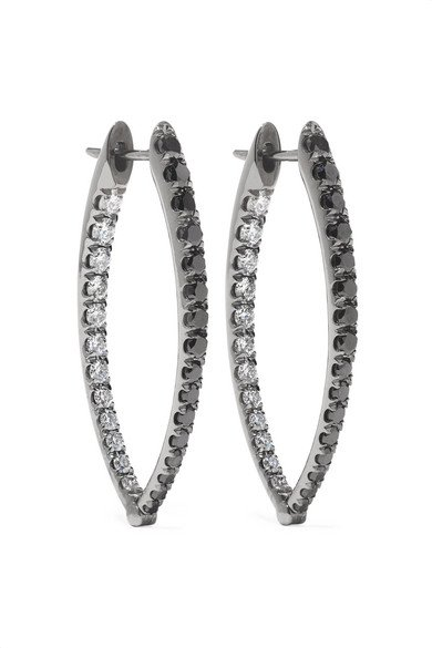 Melissa Kaye | Cristina medium 18-karat blackened white gold diamond earrings | NET-A-PORTER.COM