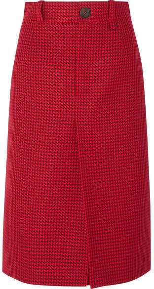 Houndstooth Wool Skirt - Red