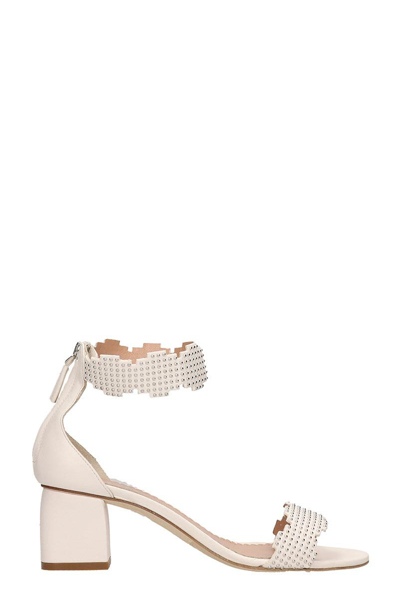 Julie Dee White Leather Sandals