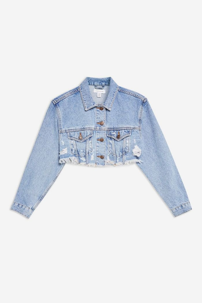 Cropped Ripped Denim Jacket | Topshop