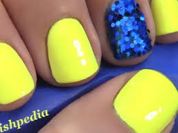 neon blue and yellow nails - Google Search