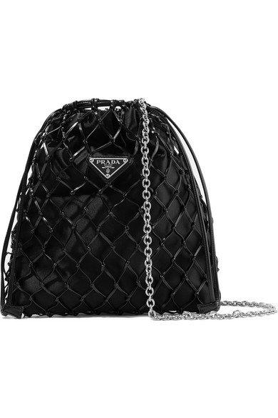 Prada   Macramé leather and satin bucket bag   NET-A-PORTER.COM