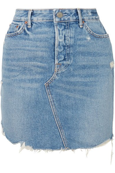 GRLFRND | Rhoda distressed denim mini skirt | NET-A-PORTER.COM