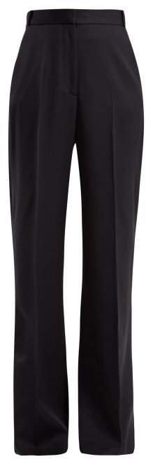 Wide Leg High Rise Wool Trousers - Womens - Navy